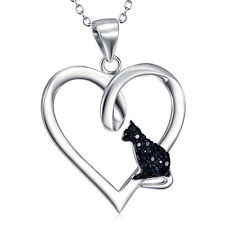 925 Sterling Silver Puppy Paw with CZ Eternity Love Heart Pendant Pet Necklace