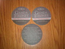 Three 3 OMMEGANG Brewery GAMES OF THRONES Take the Black Stout PROMO Coasters
