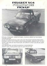1984 Peugeot 504 Follow Me Pickup Truck Brochure Dutch  wl7919-AVJ8HV