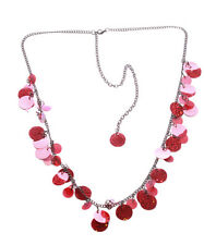 Dazzling - Ruby Red Circle Sequence Adjustable Metal Chain Necklace(Zx184)