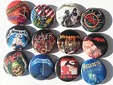 Megadeth Metallica Slayer Anthrax Buttons Pins Heavy Metal 80s Rock n Roll