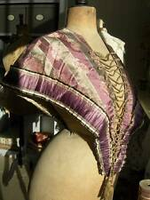 Beautiful antique French pure woven silk brocade shoulder cape w. tassels