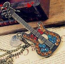 Guitar Metal Charm Pendant Necklace Mens Womens Bronze Accessories Chain Gift