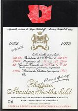 PAUILLAC 1EGCC ETIQUETTE CHATEAU MOUTON ROTHSCHILD 1972 73 CL DECOREE §14/08/16§