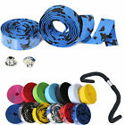 2X Road Bike Bicycle Cycling Handle Handlebar Ribbon Grip Bar Tape Plug 13 Color