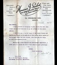 """BURNLEY (U.K.) CONFECTION VETEMENTS / HAUTE-COUTURE """"Monsier J. SACHET"""" en 1923"""