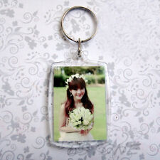 10pcs Transparent Blank Insert Photo Picture Frame Keyring Split Ring Keychain