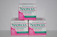 Nadinola Skin Discoloration Fade Cream Extra Strength Formula NIB 3 PACK