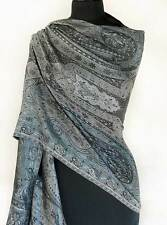 Iridescent Silk Jamawar India Paisley Shawl Black & White Jamavar Wrap Pashmina