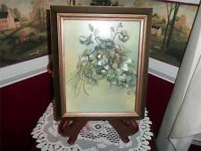 SHADOW BOX PICTURE OF RAISED FLOWERS SIGNED GILMAR ORG. OLD FRAME