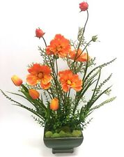 Elegant Real Touch Orange Tulip Floral Poppy Flowers Arrangement Ceramic  Vase