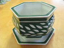 HANDPAINTED Green & White Plant Pot with Saucer / Cachepot - 'Leaf' Design - NEW