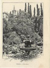 Stampa antica VERONA scorcio di Villa Giusti Veneto 1892 Old antique print