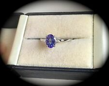 TANZANITE & DIAMOND RING 9K WHITE GOLD SIZE Q 'CERTIFIED AA 1.10CT' FAB COLOUR!