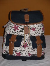 Boho Canvas Drawstring BackPack Rucksack With 2 Front Pockets And Flapover.