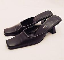 Women's - PRADA - VTG Noir Black Leather Mirrored Heel Mules Slides Shoes 8.5 39