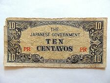 Japanese Ten (10) Centavos World War Ii Note Lot C