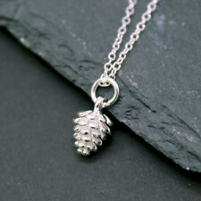 925 Sterling Silver Caledonian Winter Acon Pine Cone Silver Necklace Pendant