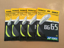 5 x PACKETS YONEX BG65 YELLOW BADMINTON RACKET STRING 100% GENUINE