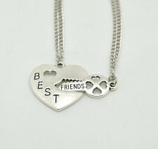 SILVER WOMEN BEST FRIENDS FOREVER FRIENDSHIP TWO PIECES  PENDANT FASHION NECKLAC