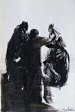 Scène de la RUE dessin original encre sur papier oeuvre d'art illustration femme