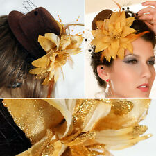 Golden Steampunk Brown Sequin Mini Top Hat Rose Ribbon Cage Halloween Costume OS
