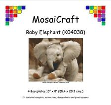 MosaiCraft Pixel Craft Mosaic Kit 'Baby Elephant' (Inc. Dove Tail Clips)