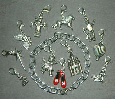 Handmade Silver Clip On Charm Bracelet 12 pc Wizard of Oz Themed Clip-On Charms