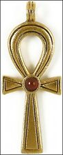 Egyptian Ankh Pendant & Chain 24K Gold-plated 18 inch Necklace Carnelian Pendant