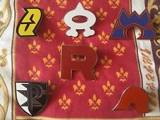 ALL 6 Of Pokemon team Badges Metal Pins Rocket Aqua Magma Galactic Plasma Flare