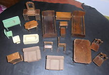 19 VINTAGE 1930'S antique STROMBECKER walnut WOOD doll FURNITURE dollhouse LOT