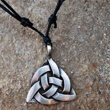 Triquetra Trinity Celtic Knot Norse Irish Pewter Pendant and Cotton Necklace