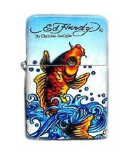 one Ed Hardy Oil Lighter  Koi Fish Tattoo Design Flip-Top Flint Refillable