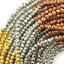"""3mm faceted multicolor pyrite rondelle beads 13"""" strand"""