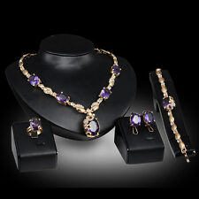 purple Crystal zircon 18K Gold Plated Necklace Earring Bracelet Ring Jewelry Set