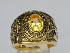 9x7 mm Knights Templar Masonic Mason November Yellow CZ Stone Men Ring Size 15