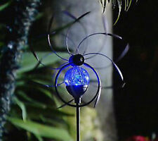 "QVC M41083 38"" Solar Wind Spinner with Color Changing Crackle Glass Sphere light"
