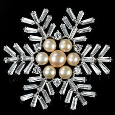 Sterling Silver 925 Large Genuine Natural Pearl & Lab Created Diamond Brooch