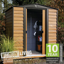 NEW 6x5 6x5FT 6 x 5 FT WOOD GRAIN LOOK EFFECT METAL APEX GARDEN SHED