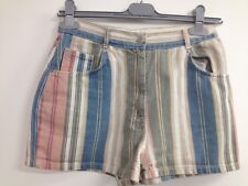 Vintage Frontier Multi Colour Striped Psychedelic 80s Shorts UK M (W209)