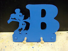 wooden coat pegs hooks hangers personalised childrens initial with micky mouse