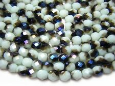 6mm Pale Mint Green Iris Czech Glass Firepolished Round Beads (25) #3645