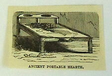 1883 small magazine engraving ~ ANCIENT KITCHENS- PORTABLE HEARTH, Egypt