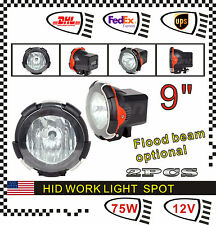 "2pcs 75W 9"" HID Xenon Work Spot Beam Light Lamp UTE Offroad SUV BOAT LAMP Fog"
