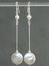 Large Silvery Grey Freshwater Coin Pearls & Sterling Silver Long Drop Earrings