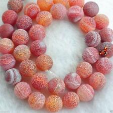 """8MM Natural Frosted Fire Dragon Veins Agate Stone Round Loose Beads 15"""""""