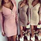 Damen Sexy Minikleid V-Ausschnitt Langarm Bodycon Party Mini Kleider Pullover