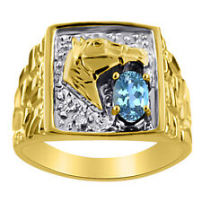 Blue Topaz & Diamond Horse Head Ring 14K Yellow Gold Lucky Nugget