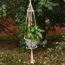 1 pc Cotton Hanging Plant Macrame Vintage with Bamboo Ring Wood Bead 4 Legs New