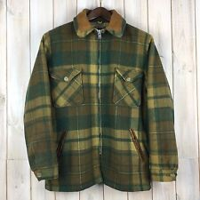 Vintage Woolrich Wool Coat Jacket TALON Zip Plaid Cruiser Mackinaw Field USA M